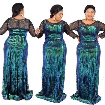 Plus Size African Traditional Clothing for Women Elegant Mesh Patchwork Sexy Sequins Diamond Formal Party Danshiki Ankara Dress