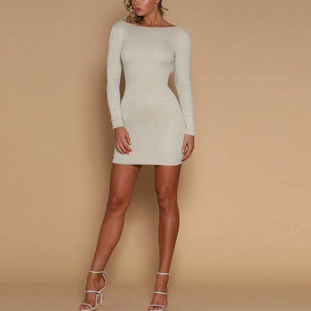 Gaun Wanita Seksi Tanpa Rasa Mengkilap Kurus Slim Gaun Wanita Malam Pesta Club Fashion Kualitas Tinggi Mini Gaun Wanita 2020 # nu