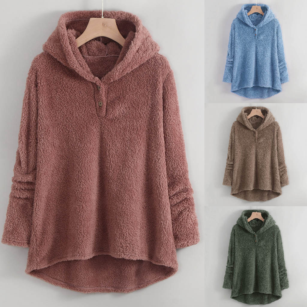 ropa mujer bluza damska hoodies women Plus Size Winter Warm Plush oversized hoodie Lapels Jacket Outwearcoat moletom feminino