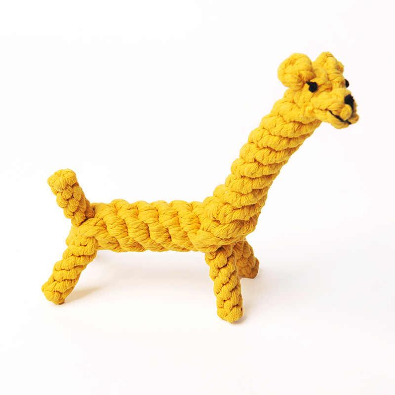대화 형 개 장난감 작은 대형 개를위한 저항하는 개 장난감을 물린 코튼 로프 꼰 동물 곰 오리 개 몰타 씹는 코튼 로프