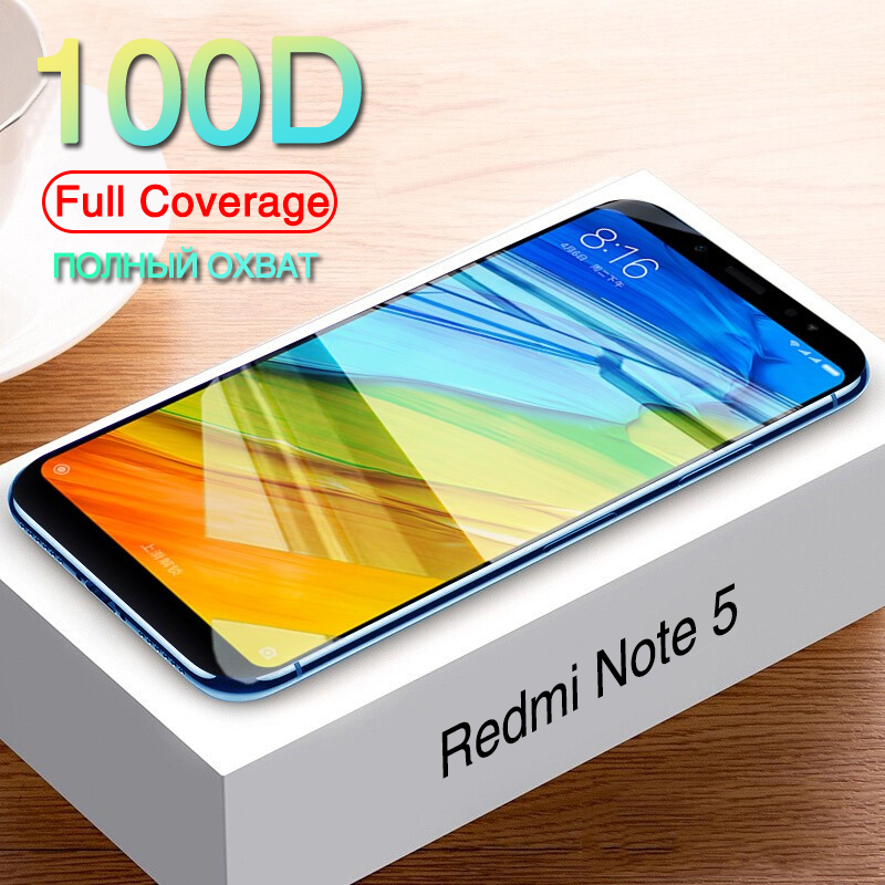 100D Tempered Glass For Xiaomi Redmi Note 5 5A Note 7 8 Pro Screen Protector On Redmi Note 8 7 6 5 Pro Protective Glass Film