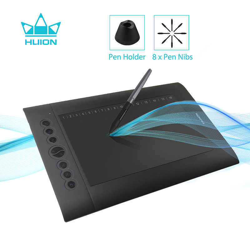 HUION H610 PRO V2 ใหม่ล่าสุดแท็บเล็ตกราฟิกระดับมืออาชีพดิจิตอลแท็บเล็ตปากกาแบตเตอรี่ปากกาฟังก์ชั่นเอียง 8192 ระดับ