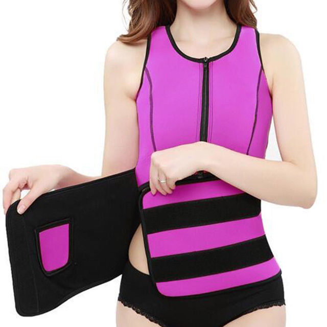New Women Trainer Waist Belts Vest Gym Adjustable Slimming Sweat Belt Workout Zipper Body Shaper Sexy Workout Sports Wear Vest 1