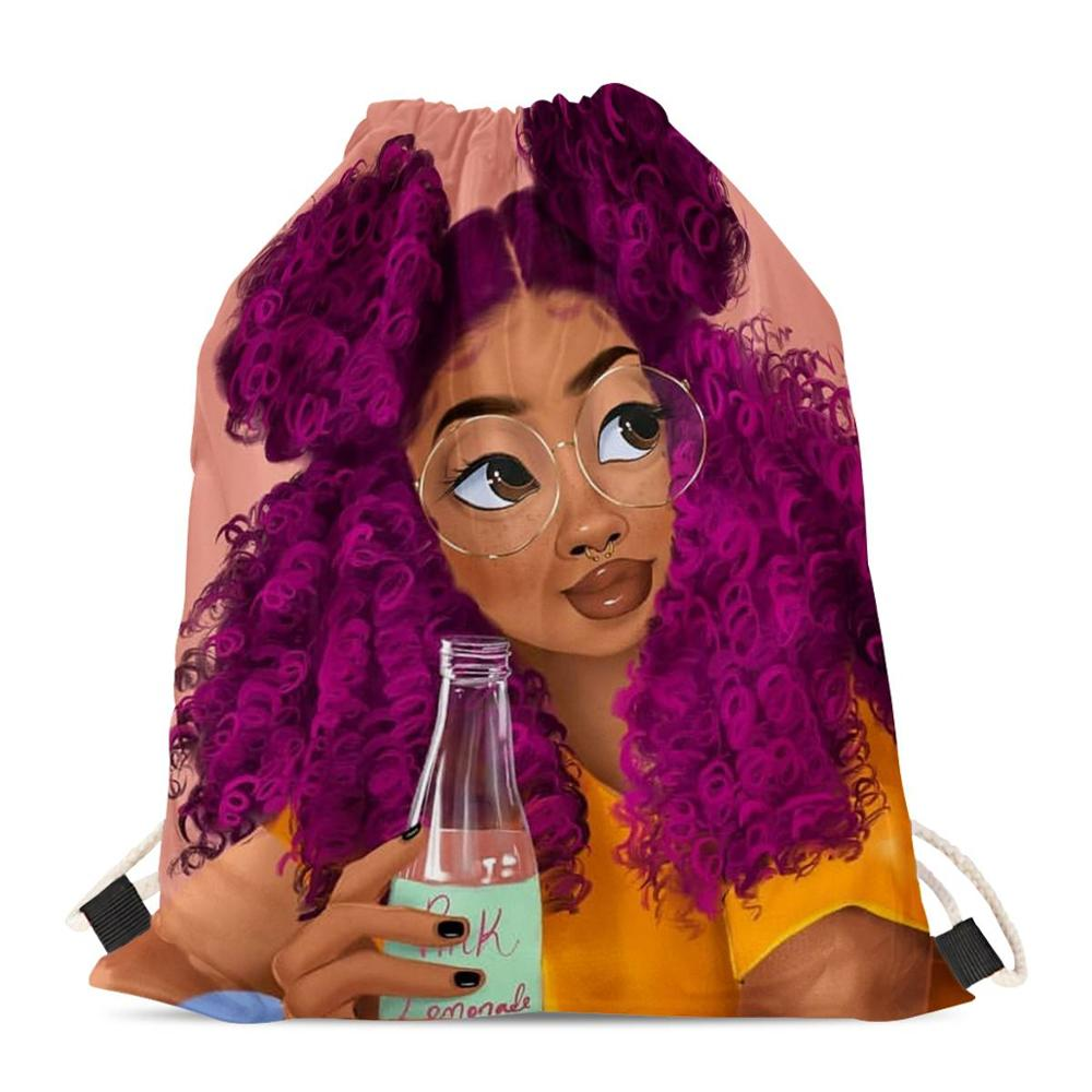 HYCOOL String Pouch Bag For Women Pink Cute African Girl Drink Lemonade Print Teenager Girls Drawstring Bag Female Gym Rucksack