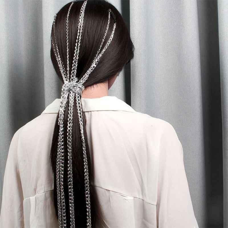 Wig Ekstensi Wanita Hiasan Kepala Kepala Rantai Punk BB Klip Fashion Rambut Aksesoris