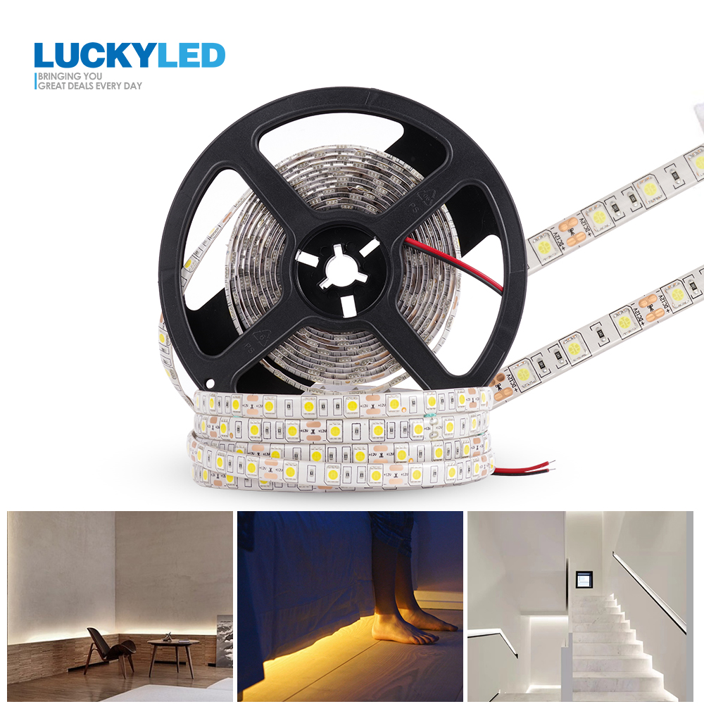 LUCKYLED 5M Led Strip 12v Waterproof SMD 2835 5050 60Leds/M Ribbon Led RGB Tape Flexible Led Light Strips Room Decoration Lamp