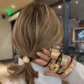 MENGJIQIAO 2020 Fasgion Elatic Hair Band For Women Metal Crown Rubber Hairbands Elegant Pearl Scrunchie Hair Accessories Jewelry 1