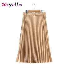 2019 Autumn Women Basic Pleated Midi Skirt Belt Side Zipper Office Wear Female Casual Solid Retro Elegant Skirts