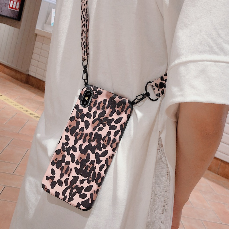 Sexy Leopard Shoulder Bag Phone Case For IPhone 11 8 7 6s Plus X Xs Max XR Crossbody Necklace Cord Lanyards With Rope Soft Cover