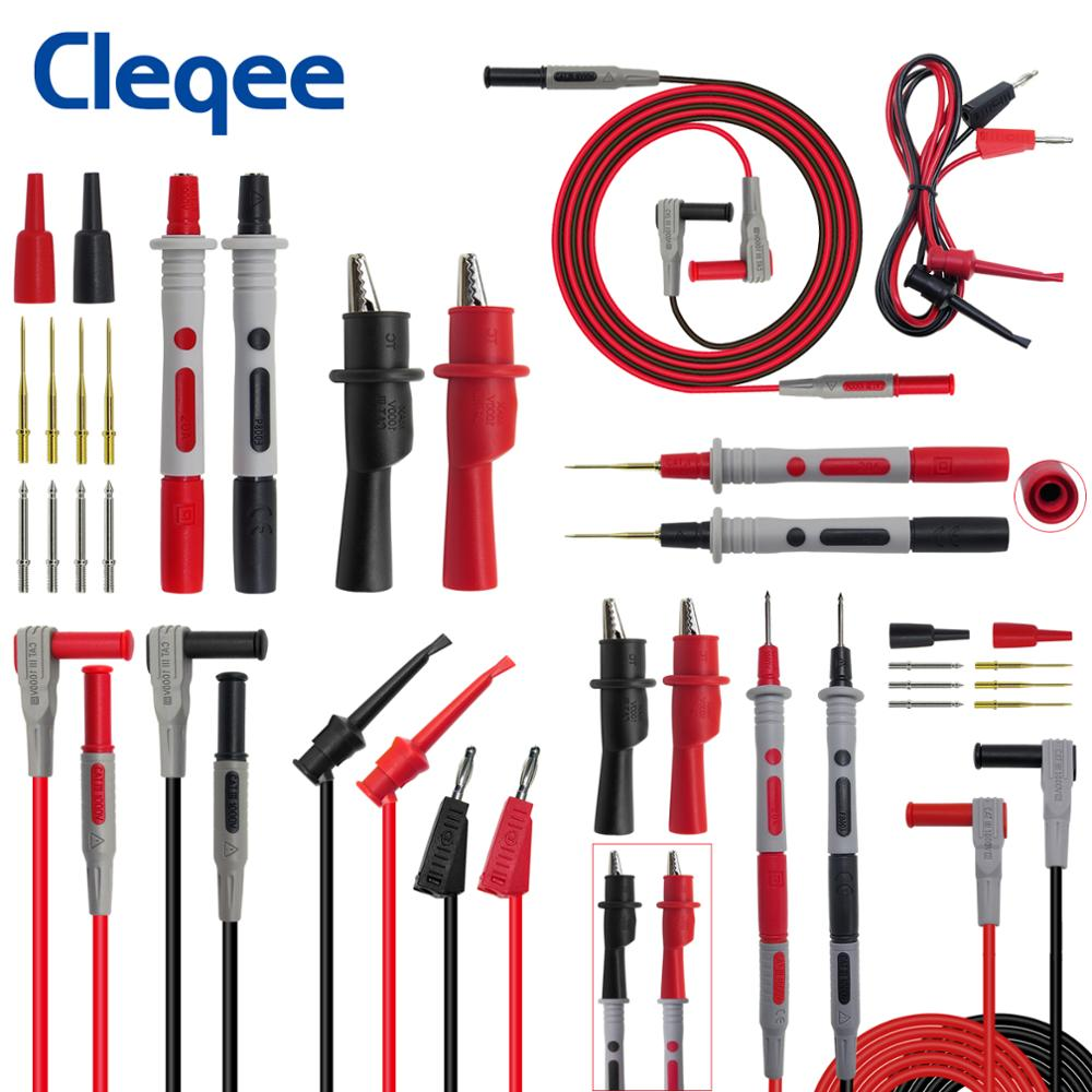Cleqee P1308B 8PCS Test Lead Kit 4MM Banana Plug To Test Hook Cable Replaceable Multimeter Probe Test Wire Probe Alligator Clip