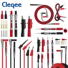 цена на Cleqee P1308B 8PCS Test Lead Kit 4MM Banana Plug To Test Hook Cable Replaceable Multimeter Probe Test Wire Probe Alligator Clip