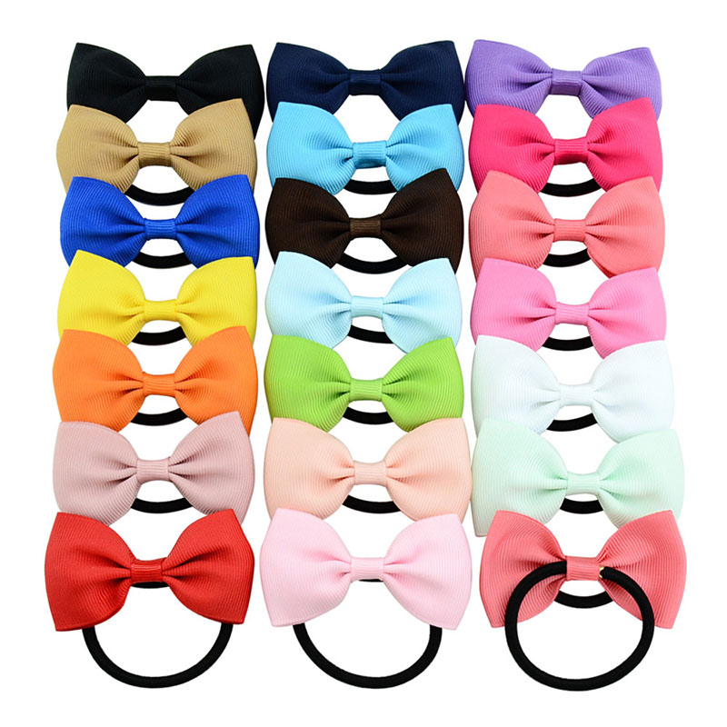 Kids Bowknot Scrunchies Hair Bows For Girls Baby Hair Ties Gum Solid Elastic Hair Band Child Hair Accessories Rope