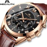 MEGALITH Classic Mens Watches Quartz Wristwatch Brown Leather Strap Montre Homme Business Watch For Men Waterproof Clock 0092|Quartz Watches|Watches -