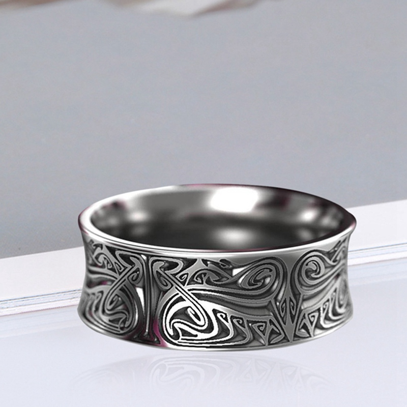 Antique Silver Colour Rings Rotate Carving Flower Gothic Vintage Rock Punk Personality Jewelry For Men And Women|Rings| - AliExpress