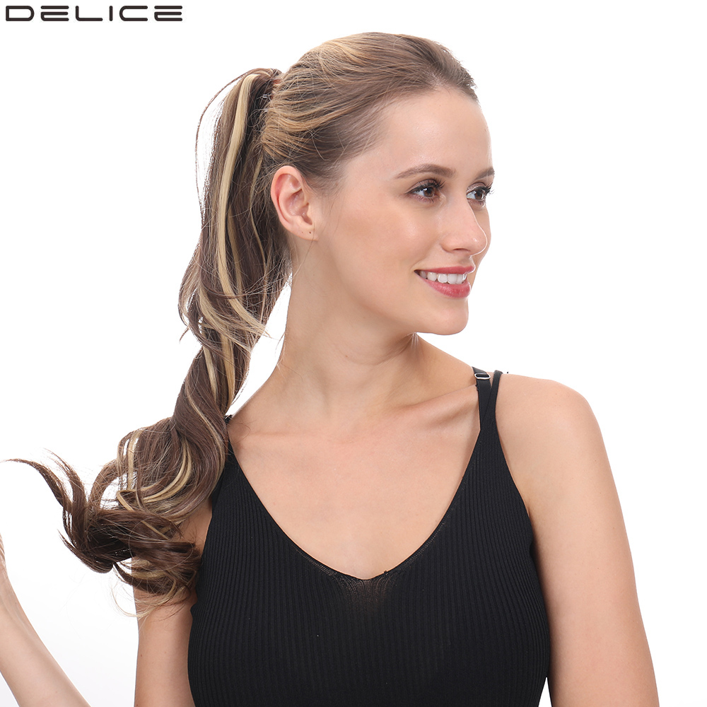 Delice Women's Long Layered Wavy Ponytail Brown Ombre Synthetic Claw Ponytails Hairpieces 24inch
