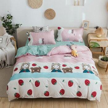 Cute Bedding Set Luxury Modern Fruit Cartoons Queen Size Sheets Adult Children Duvet Quilt Cover Comforter Kawaii Boys Girl
