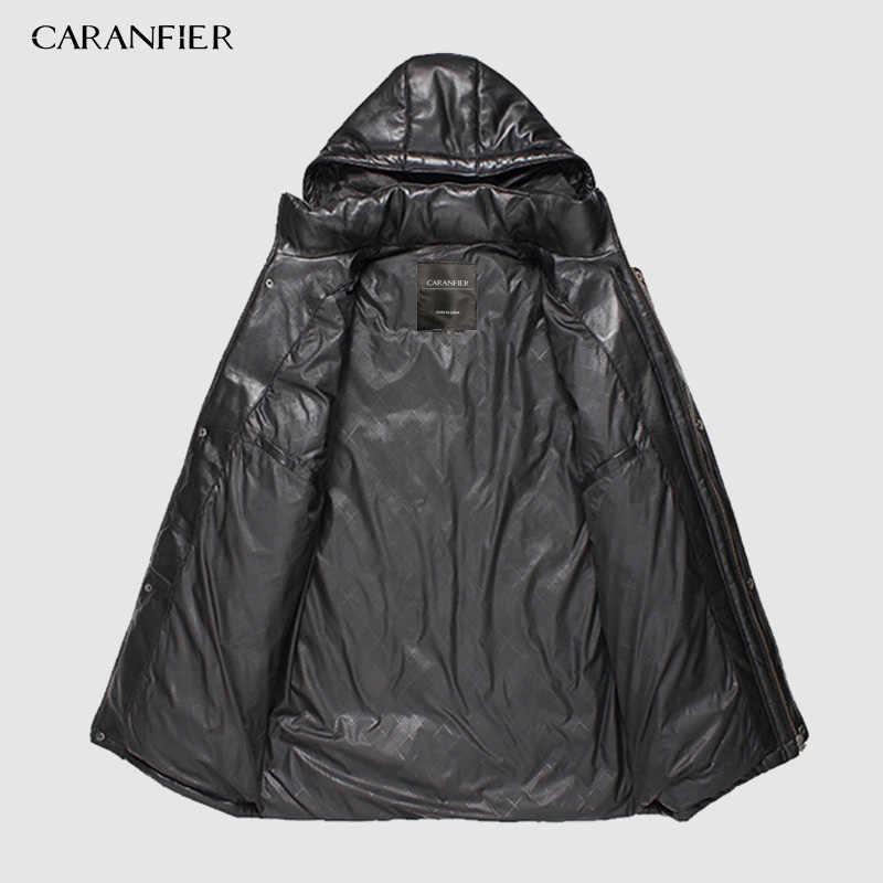 CARANFIER 新 2019 ジャケット男性本革ダウンジャケット冬のアウターシープスキンのコートのオーバーコート