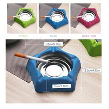 1pc New Silver Stainless Steel Corrosion Resistance Cigarette AshtrayHome Office Hotel Bar Desktop Decoration Blue/Green/Red