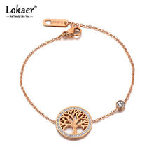 Lokaer Trendy CZ Ctystal Árvore Charm Bracelet Bangle Para Mulheres Bohemia Cadeia do Aço Inoxidável Link Pulseiras B19127 Aniversário