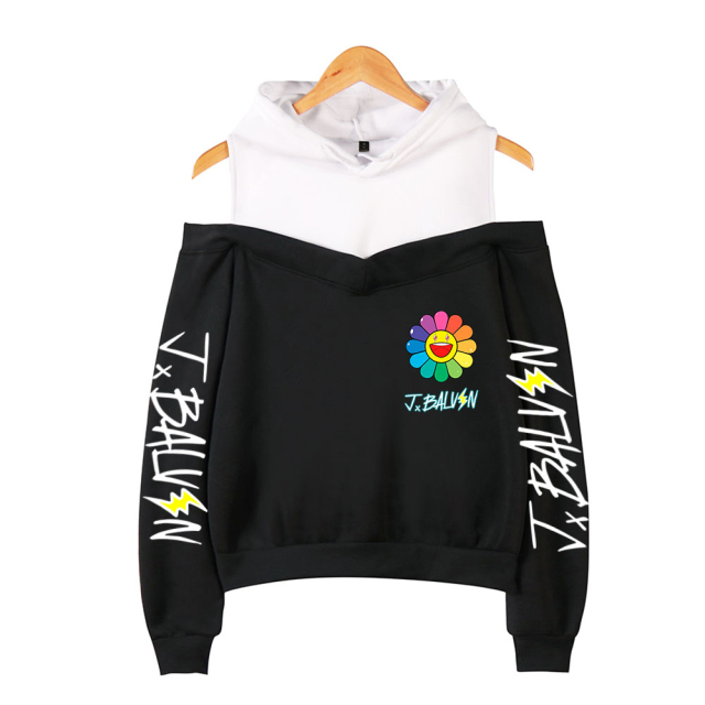 J BALVIN CROP TOP OFF-SHOULDER HOODIE (20 VARIAN)