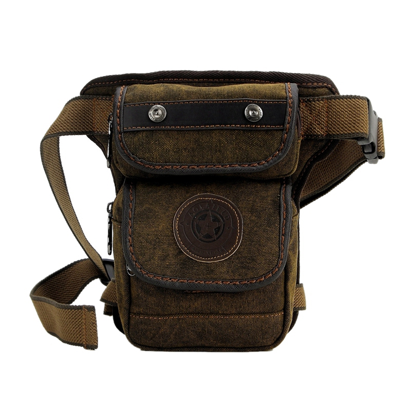 AOLAILUDI Men Canvas Fanny Waist Pack Vintage Messenger Shoulder Bags Motorcycle Rider Hip Bum Belt Leg Bag