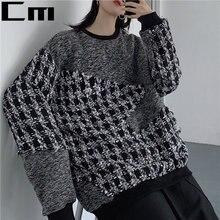 2020 зимний женский вязаный свитер в клетку Женский Повседневный
