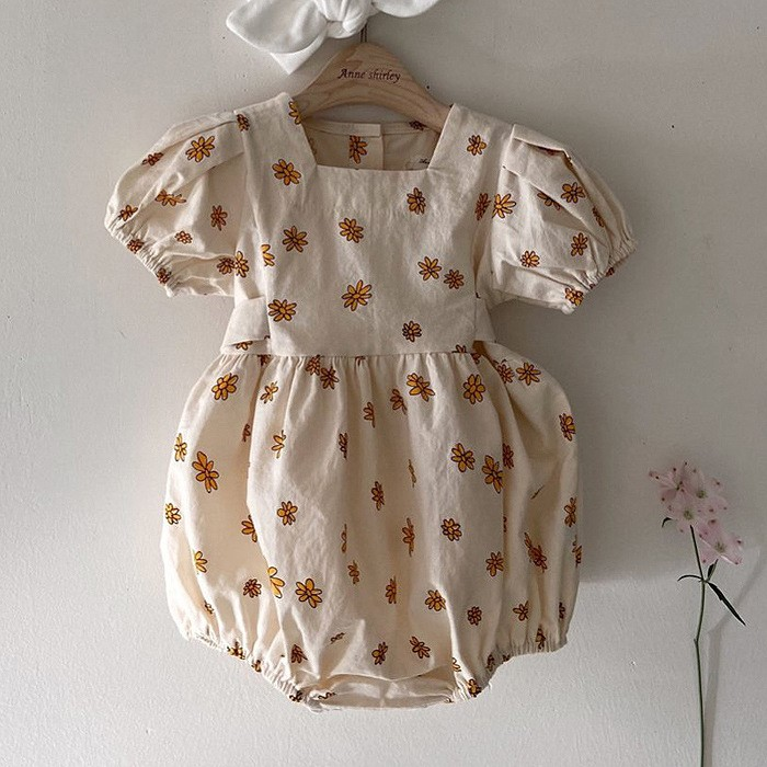3607 Korean Baby Girl's Daisy Floral One-piece Clothes With Bubble Sleeve Toddler Girls Romper Overalls Children Clothes