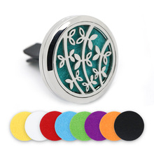BOFEE Magnet Flower Essential Oil Diffuser Locket Stainless Steel Aromatherapy Perfume Freshener Aroma Car Vent Clip Gift 30mm