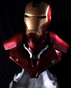 Gorący sprzedawanie Iron Man Tony Stark 1:1 MK3 portret głowy z LED światła GK działania figurka – model kolekcjonerski zabawki