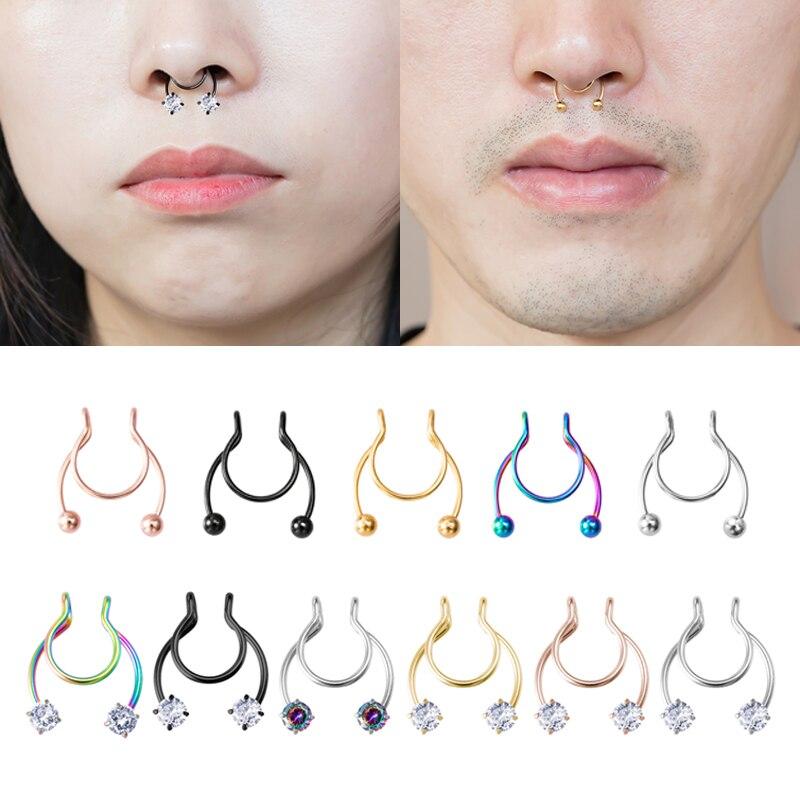 1-6pcs Zircon Clip Nose Ring Septum Fake Piercing Hoop Lip Rings Stainless Steel Helix Horseshoe Punk Body Jewelry Unisex Women