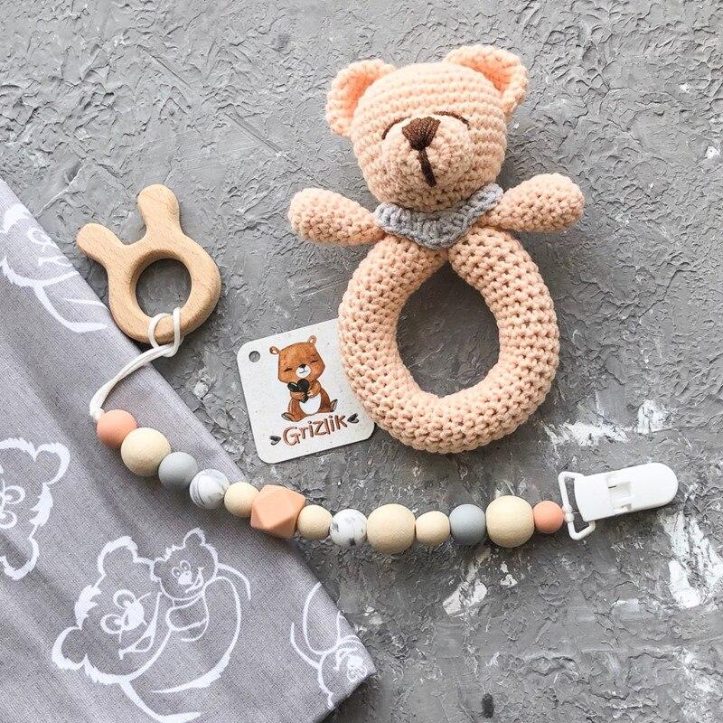 Купить с кэшбэком Chenkai 5pcs Wooden Teether DIY Organic Eco-friendly Nature Wood Baby Teething Pacifier Grasping Montessori Toy Accessories