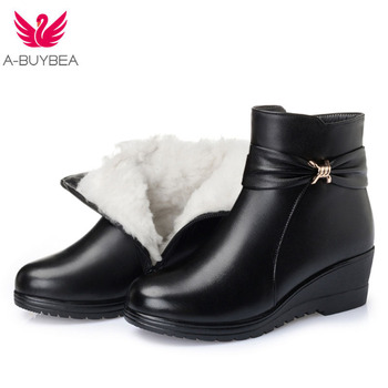 Newest Fashion Winter Ankle Boots Women Boots Flat Warm Comfort Wool Shoes Snow Boots Genuine Leather Shoes Boots Plus Size 100% genuine leather natural fur snow boots warm wool women boots classic waterproof ankle boots women shoes lady winter boots
