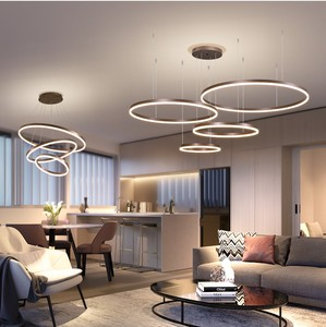 Image 4 - 40/60/80CM Rings Fashional Modern LED chandeliers for Living Dining room DIY Hanging Lighting circle rings for indoor lighting