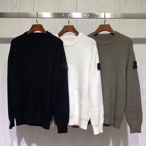 2019 Best Quality 1:1 Compass Logo Embroidery Men Casual Sweaters Hiphop Streetwear Men Casual Striped Sweater Pullover