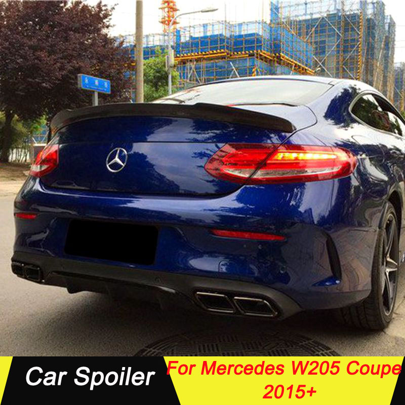 Carbon Fiber Car Spoiler For <font><b>Mercedes</b></font> C Class W205 <font><b>Coupe</b></font> 2015+ Black Car Tail Wing Decoration For C200 C250 <font><b>C300</b></font> C180 C350 <font><b>Coupe</b></font> image