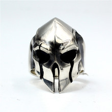 925 Sterling Silver Guard Helmet Ring Mens Biker Rock Punk Ring  US Size 7~15 r006 7 skull shaped stylish titanium steel ring silver us size 6