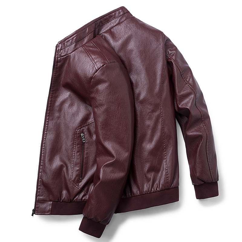 2020 New Fashion Autumn Warm Male Leather Jacket Plus Size 7XL Mens Stand Collar Coat Leather Biker Jackets Zipper Coat Winter