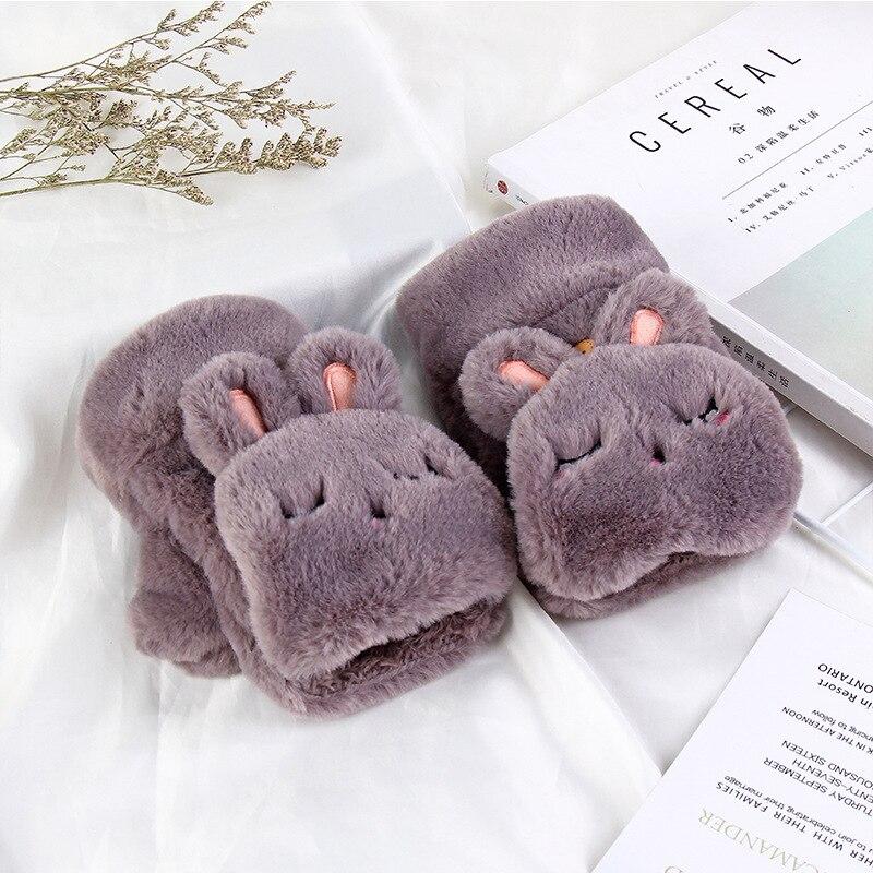 Winter Warm Lovely Cartoon Cute Rabbit Half Finger Student Flip Gloves Thickened Plush