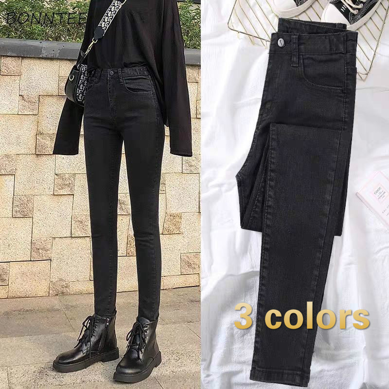 Jeans Women High Waist Pencil Elegant Vintage Black Thicker Velvet Plus Size Females Trousers Chic All-match Skinny Denim Casual