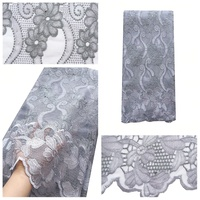 Dubai High Quality Guipure Lace Fabric 5 Yard Water Soluble Gray Swiss Cord Lace Korean 2020 New Arrival French Lace Fabrics