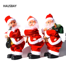 Christmas Santa Claus Toy Shake Hips Music Electric Doll Xmas Decoration Tree Pendant Creative Gift for Children Home Decor X014 christmas gift santa claus doll pendant xmas tree decoration