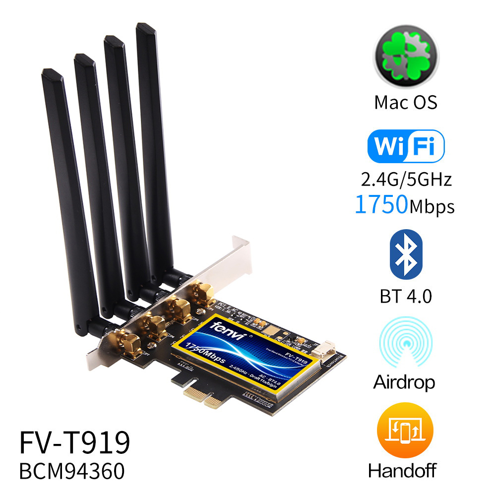 FV-T919 Dual Band 1750Mbps PCI Express Desktop Wireless Adapter Broadcom BCM94360  802.11ac For Hackintosh/Mac OS/Windows