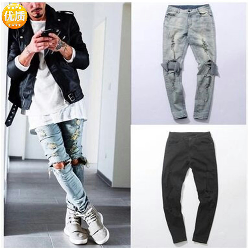 New Fashion Style Men's Distressed Pants Oiled Old School Washed Blue Denim Skinny Jeans Slim Trousers Cotton Pants Dropshipping