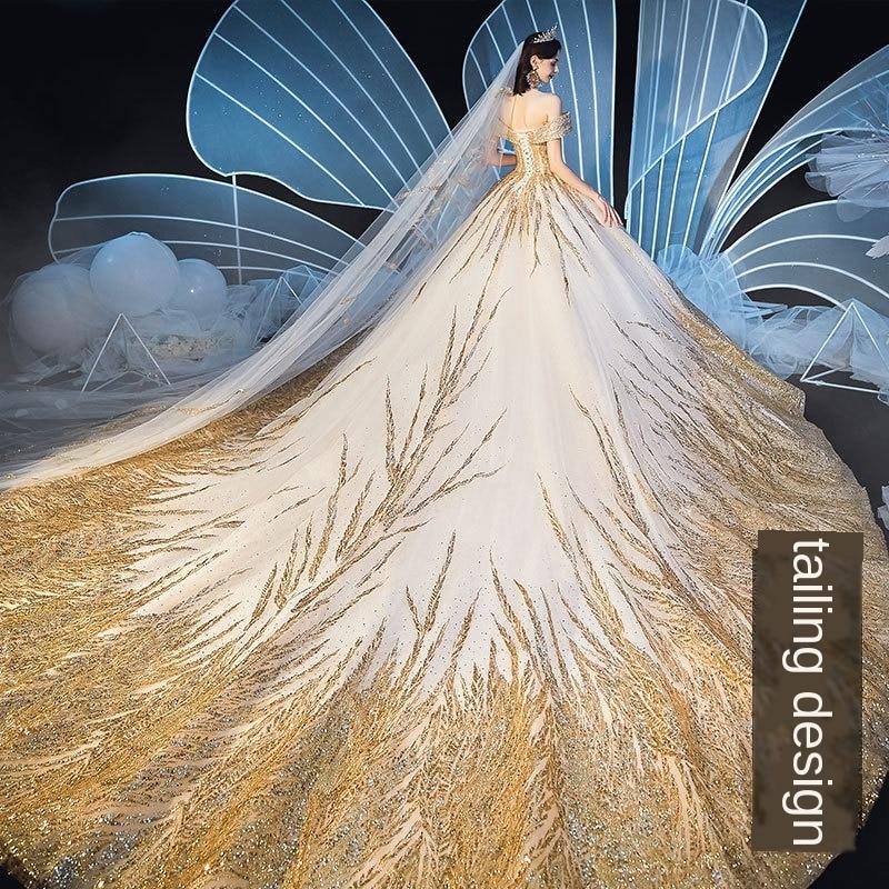 Image 5 - Lindo dubai sexy vestidos de casamento de luxo dourado 2020 lantejoulas fora do ombro vestidos de noiva vestido de noiva feito sob encomenda bodaVestidos de Noiva   -