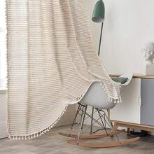 Linho de algodão bege listra borla cortina país estilo janela pendurado cortinas blackout para sala estar fácil cortina para janela