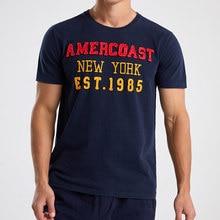 American coast menswear 100% algodão camiseta comredondo pescoço e manga curta famosa-marca verão-estilo masculino de alta qualidade clássica