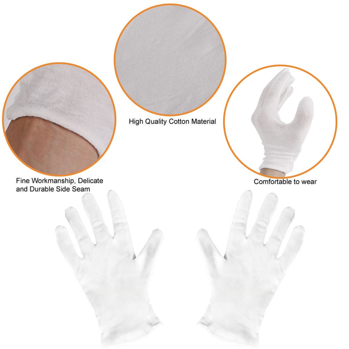 12 Pairs White Thin Reusable Elastic Soft Cotton Gloves Dry Hands Moisturizing Cosmetic Hand Spa Coin Jewelry Inspection Glove