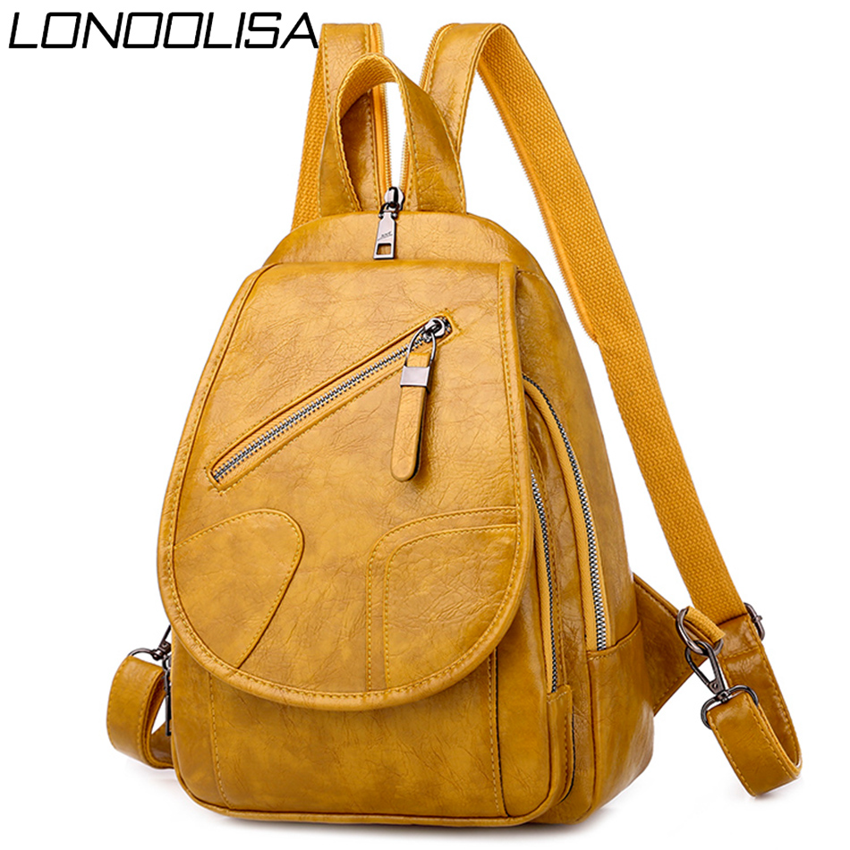 3 In1 Baackpack Sac A Dos Soft Oil Leather Women Backpack Fashion Bagpack Back Pack 2020 School Bags For Teenage Girls Mochilas