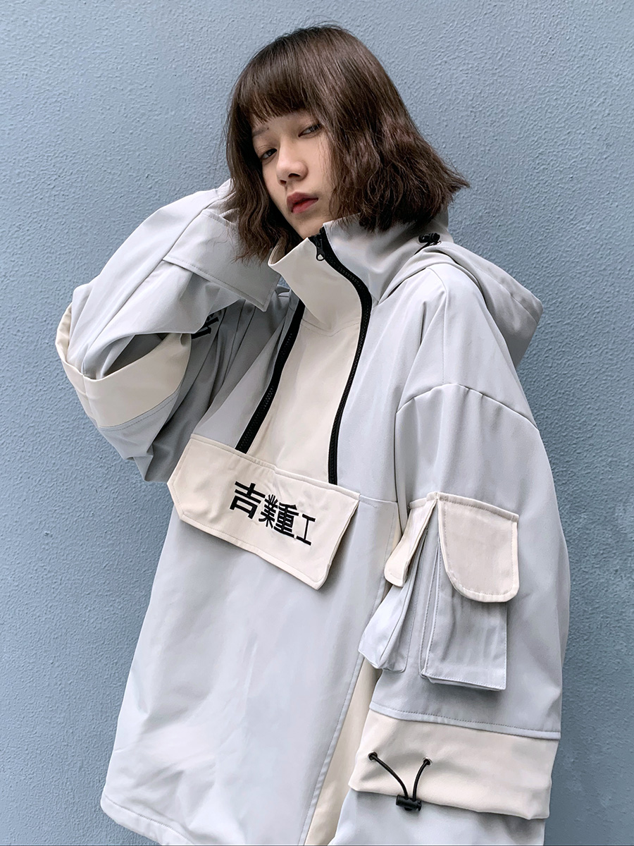 2020 multi pocket stormsuit hiphop casual stitching Half Zip Hooded women Men's clothes Antique jacket Japanese style streetwear