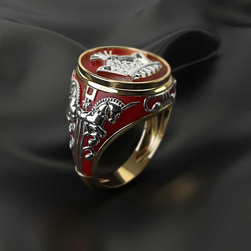 Anillo de dedo rojo geométrico de nuevo diseño, joyería de moda, anillos de boda con diseño de corona de Caballo de Metal para hombres y mujeres Z5M506